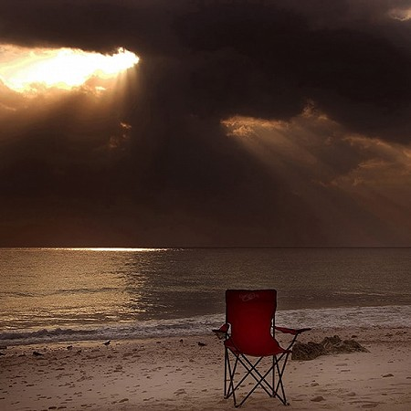 Red chair at White Beach - White Beach