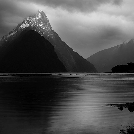 Mitre Peak black and white - Milford Sound, Fiordland National Park, South Island